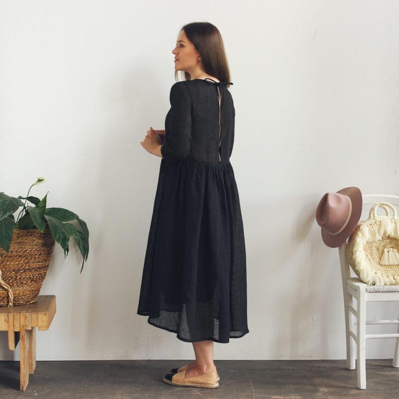 sukienka czarna lniana polski projektant