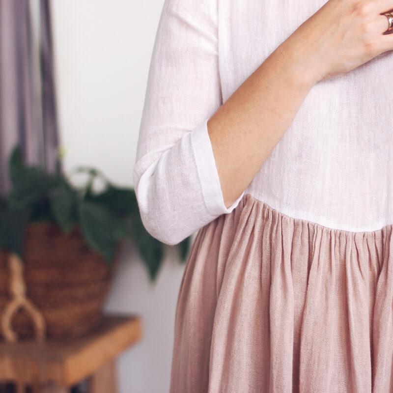 sukienka z polskiego lnu, lniana sukienka, sukienka z rękawami 3/4, sukienka średnie rękawy