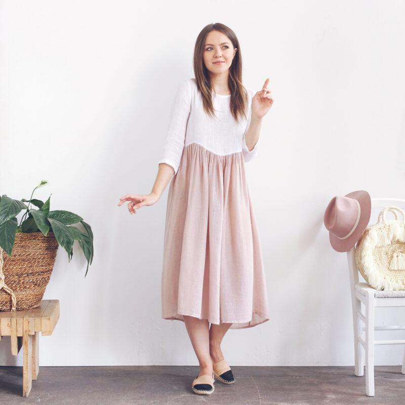 Sukienki lniane, polski projektant, sukienka midi na lato, sukienka z lnu, lniane ubrania, najładniejsze polskie sukienki