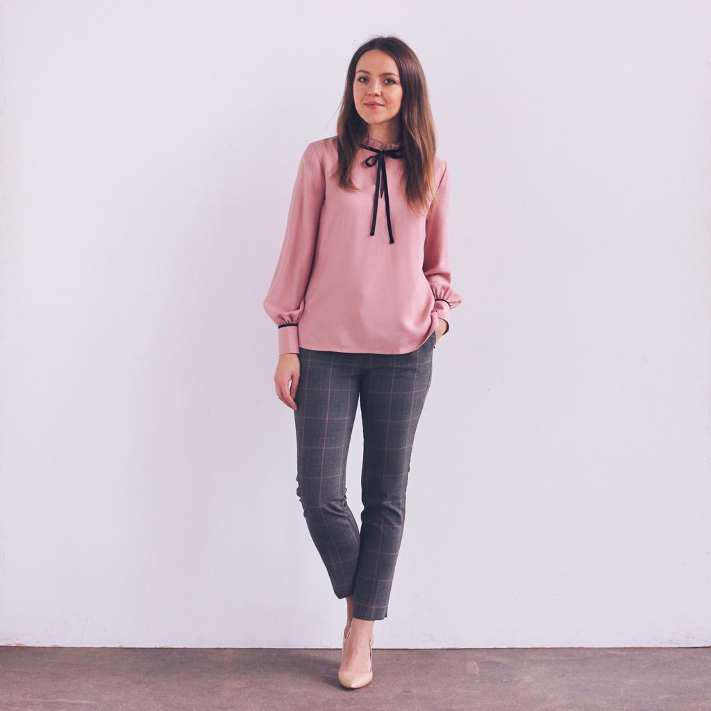 Elegancka bluzka różowa z wiązaniem kokarda francuski styl paryżanka