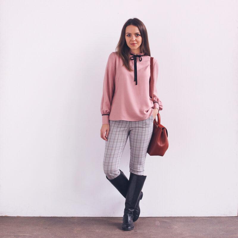 Bluzka elegancka różowa, do biura, polski projektant