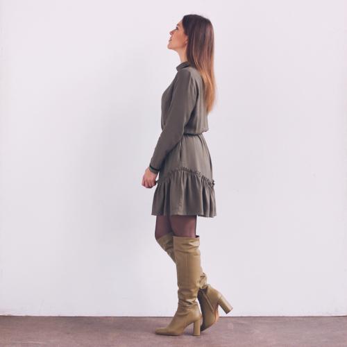 sukienka z falbaną, szyte w polsce, polska moda, sukienka z długim rękawem, co ubrać na święta, sukienki 2021