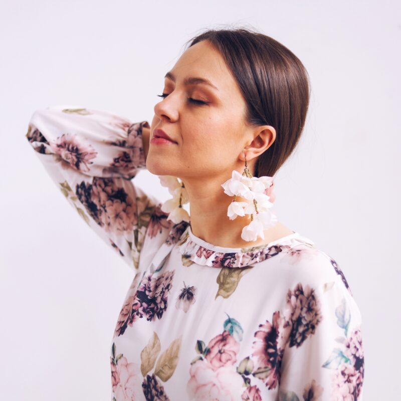 Biżuteria kolczyki kwiaty długie boho na lato polski projektant