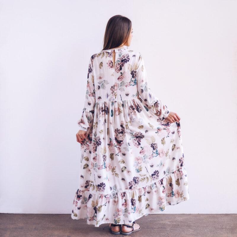 Sukienka maxi romantyczna w kwiaty z długim rękawem