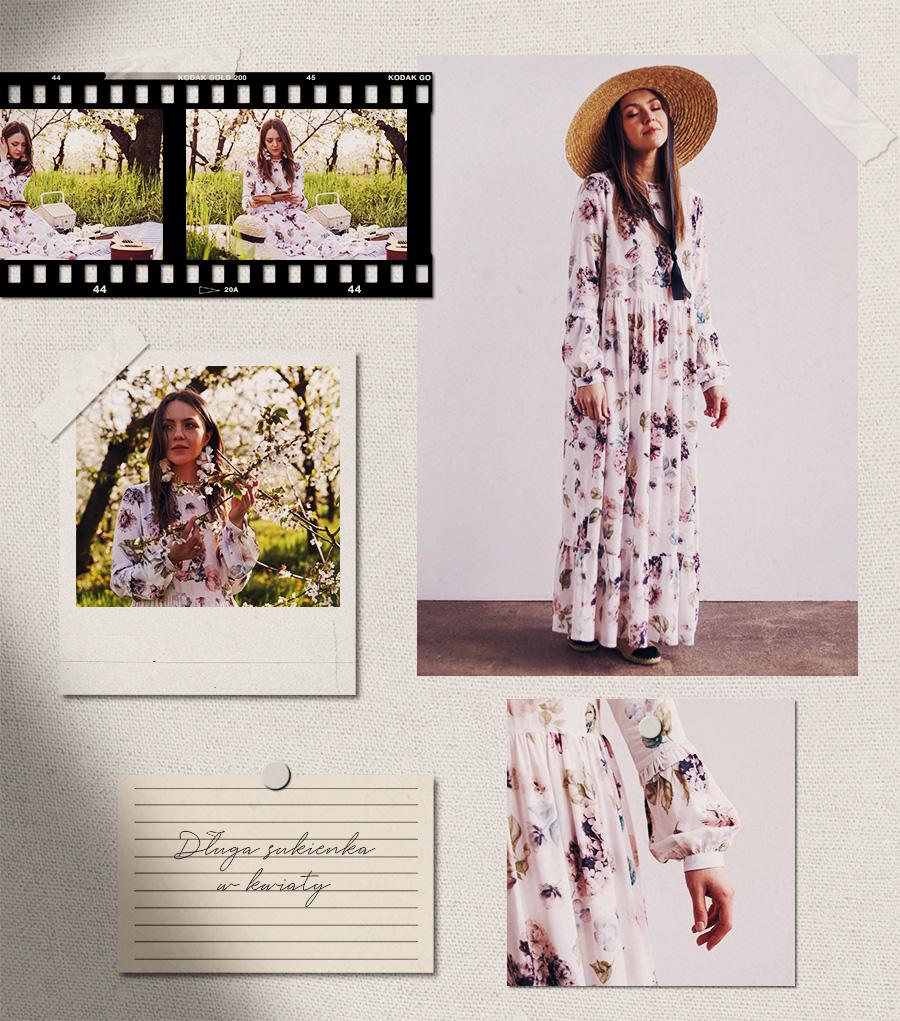 Moodboard sukienka w kwiaty długa do ziemi Olga Pokrywka